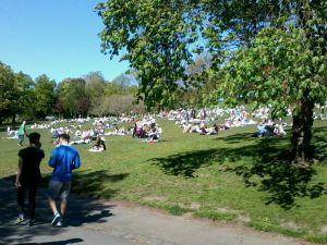 emberek a Kelvingrove parkban
